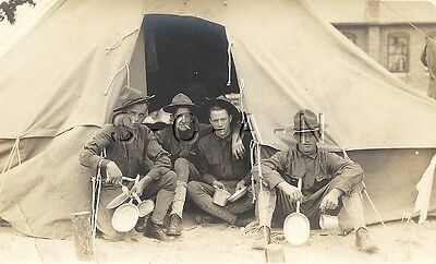 WWI Org 1904-18 Army AZO RPCC- Soldiers- Doughboys- Tent- Mess Tins- Cigarette