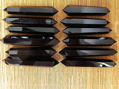TOP!!! 12 NATURAL OBSIDIAN POLISHED CRYSTAL DT WAND POINT Healing 580g @C21