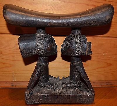 Antique Wooden Tribal Luba Hand Carved African Headrest W/ Figures Congo, Africa
