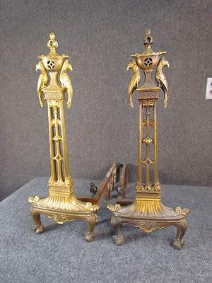 PAIR OF 1930s ANTIQUE GILT BRONZE ART DECO ANDIRONS, CHINESE PAGODA & PEACOCKS