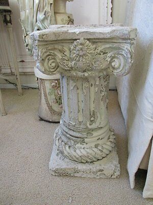 THE BEST Vintage Chippy WHITE Plaster ARCHITECTURAL COLUMN BASE CAPITAL Fluted