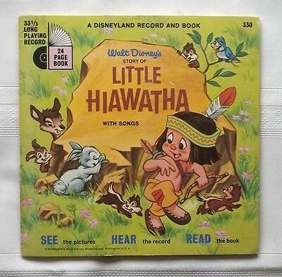 """1968 Walt Disney """"story Of Little Hiawatha"""" 33 1/3Rpm Record And 24 Page Book"""