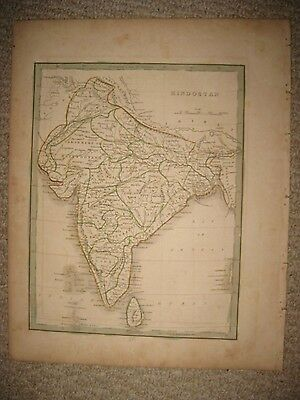 Rare Fine Antique 1835 Hindostan British India Bradford Handcolored Map Superb N