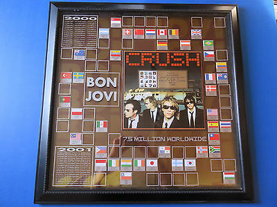 BON JOVI CRUSH ~ 7.5 MILLION WORLDWIDE ORIGINAL MUSIC RECORD AWARD ~ 32x32 ~