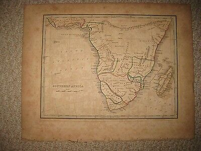 Antique 1835 South Southern Africa Bradford Map Cape Colony Hottentot Moon Area