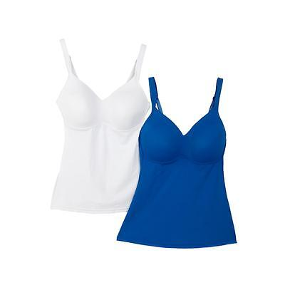 Rhonda Shear Plus Size Camisole 2X 2-Pack Molded Cup Blue/ White NEW NWOT