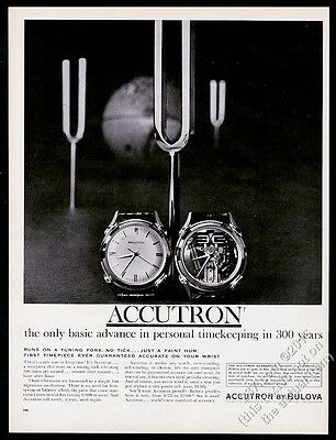 1961 Bulova Accutron Spaceview watch and tuning fork photo vintage print ad