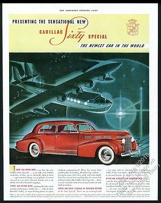 1938 Cadillac Sixty Special red car color art vintage print ad