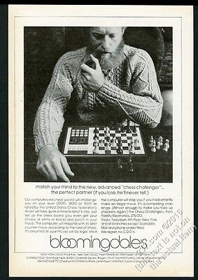 1977 Fidelity Chess Challenger computer game photo Bloomingdale vintage print ad