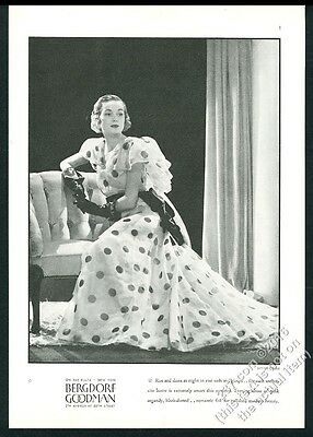 1934 organdy polka-dot dress woman photo Bergdorf Goodman vintage print ad