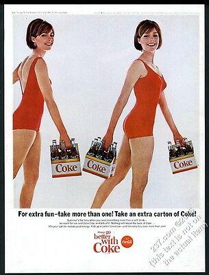 1965 Coke Coca-Cola twins twin women with 6-pack photo vintage print ad