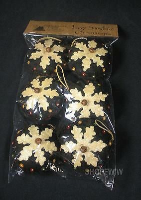 Set of 6 Primitive large Felt Snowflake Ornaments Made by Pearson's