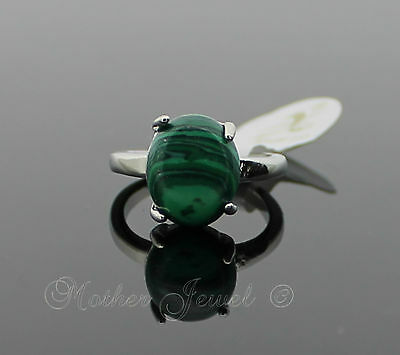 Rare Large 12mm Oval Green Gemstone Silver Plated Womens Girls Ring Size 8 P