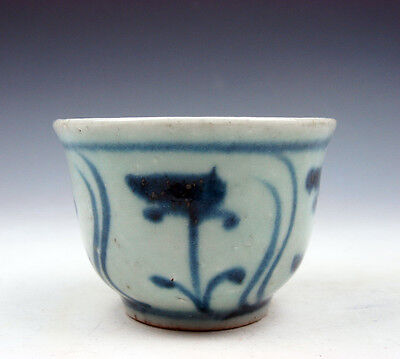 Antique Chinese Blue&White Porcelain Floral Hand Painted Tea Wine Cup #09241608