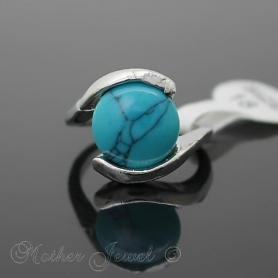 Big Round Turquoise Womens Sterling Silver Sp Cocktail Dress Ring Size 7.5 Med