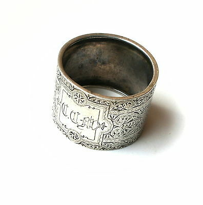 Antique Victorian Geometric Engraved Aesthetic era Sterling Silver Napkin Ring