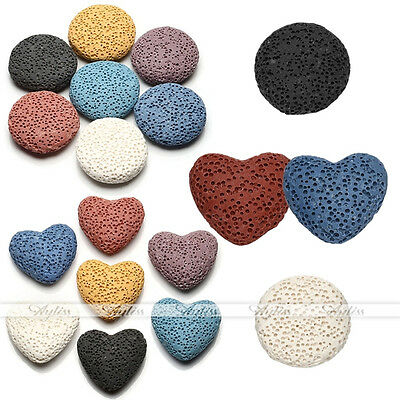 Flat Round Heart Sponge Lava Rock Stone Bead For Essential Oil Perfume Diffuser