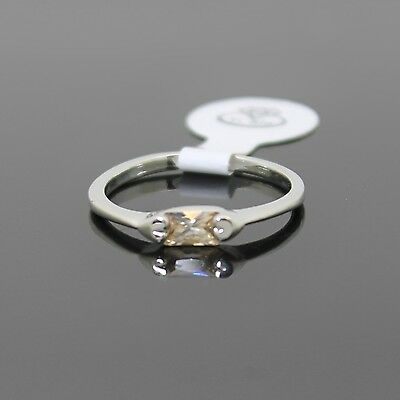 Great Birthday Gift Rectangle Amber Cz Silver Sp Womens Girls Ring Size 7.5 Med