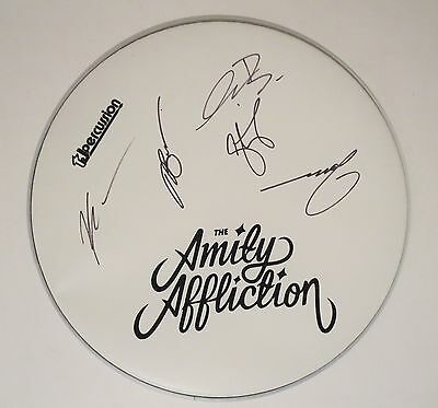 """The Amity Affliction REAL hand SIGNED 14"""" Drumhead Joel Birch + 4 COA EX PROOF"""