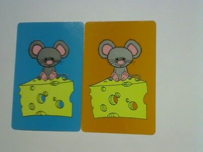 (2) Swap/Playing Cards - Pair Cute Mice Sitting on Cheese