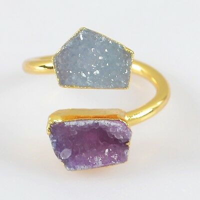Size 6.5 Hot Pink & Natural Agate Druzy Adjustable Ring Gold Plated H81997