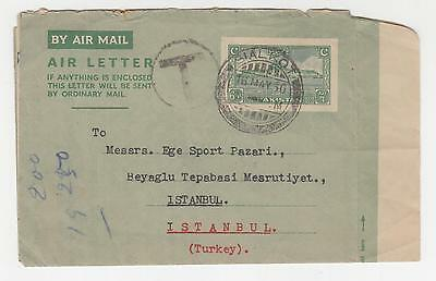 PAKISTAN, 1950 Air Letter 6a. Green, Sialkot to Turkey, Taxed T.