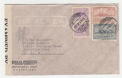 URUGUAY, 1942 Censored Airmail cover, Montevideo to USA, 74c.