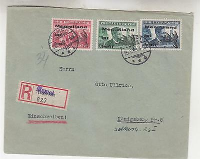 LITHUANIA, GERMANY, MEMELLAND IST FREI, 15c., 30c. & 60c. on Registered cover