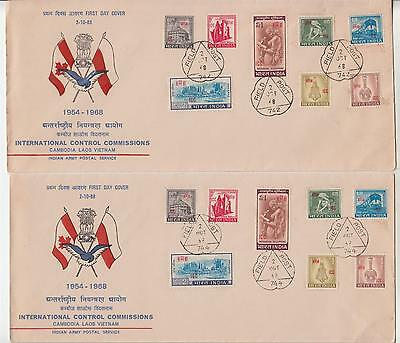 INDIA, 1968 International Control Commission set of 8 on Vietnam & Laos covers