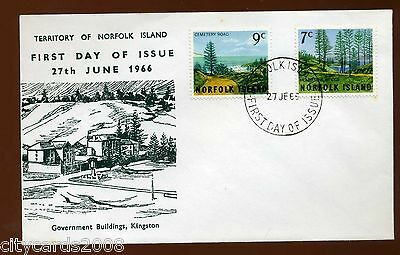 1966 NORFOLK ISLAND 9c/7c Definitives Views Illustrated First Day Cover