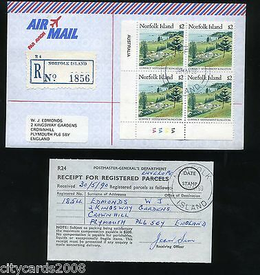1990 NORFOLK ISLAND  $2 Cylinder Block of 4 Airmail to UK Registered Post