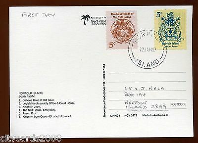 1997 NORFOLK ISLAND Great Seal and Arms from booklet First day on Postcard  #1