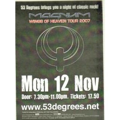 MAGNUM (METAL GROUP) Wings Of Heaven Tour 2007 FLYER UK 53 Degrees 2007 1-Sided
