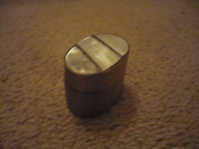 A Rare Vintage Brass Pill Box With A Mother Of Pearl Lid An Unusual Size