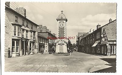 Wales Rhayader Cross Roads & Clock Tower Real Photo Vintage Postcard 17.1