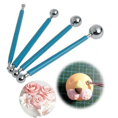 4x Fondant Flower Stainless Steel Ball Modelling Cakes Decorating Cutter Tool P!