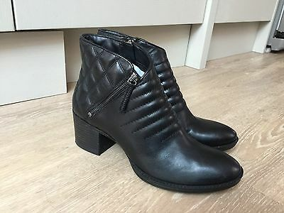 Ladies Clarks Narrative Black Leather Heeled Boots, Size 7D