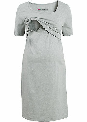 Umstandskleid mit Stillfunktion Gr. 48/50 Grau Damen-Kleid Shirt-Dress Neu