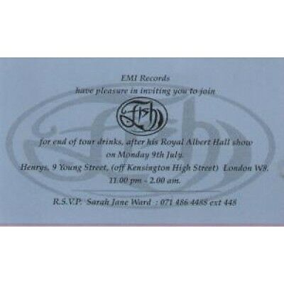 FISH End Of Tour Party CARD UK Emi 1990 Invite To End Of Tour Party 09 July 1990