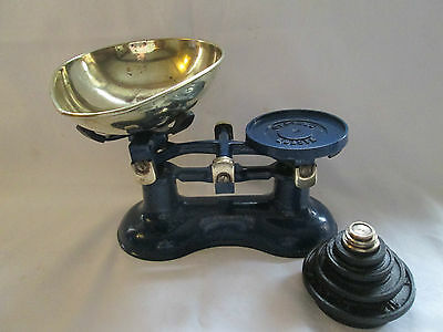 Vintage Antique style VICTOR BLUE CAST IRON ,COUNTRY ,TRADITIONAL KITCHEN SCALES