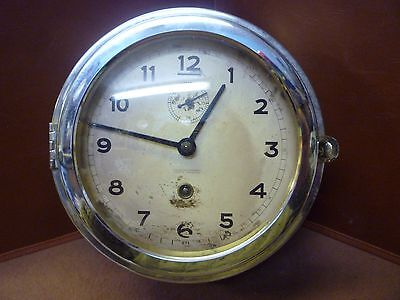 Vintage Wempe Chrome Ships Clock Works But Needs Minor Click Spring Repair