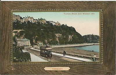 Torquay Torbay Road and Walden Hill with tram postcard by Valentine's