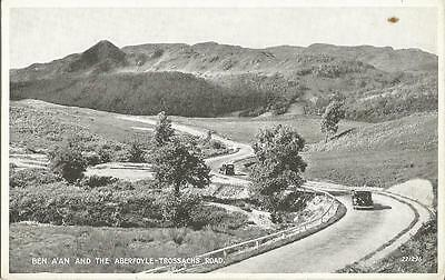 Ben A'An and the Aberfoyle - Trossachs Road b/w postcard Valentine's Silveresque