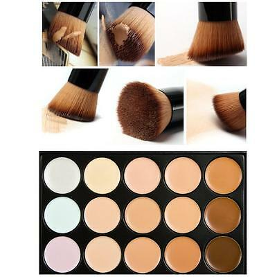15 Colors Professional Contour Cream Concealer Palette kit With Foundation Brush