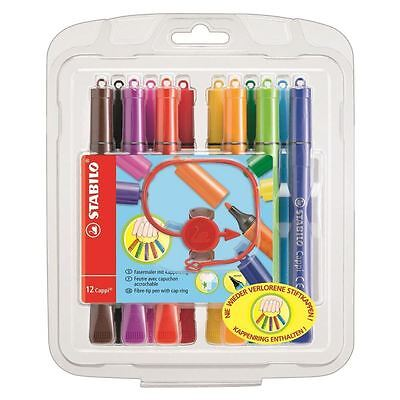 STABILO Cappi Fibre Tip Colouring Pens with Triangular Grip Zone - (Pack of 12)
