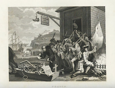 W. HOGARTH = 1840 = Invasion: FRANCE = Antica Stampa = Old ENGRAVING