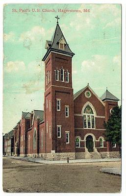 HAGERSTOWN MD St Paul's Church ~ c1908 Postcard  ~ FREE SHIPPING