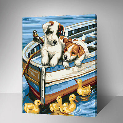 Painting by Number kit Little Puppies In The Boat and Ducklings Animals YZ7586
