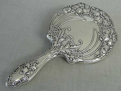 Absolutely Stunning Art Nouveau Sterling Silver Dressing Table Hand Mirror 1904