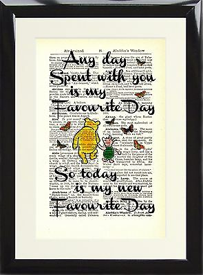 Art Print Antique Dictionary Page Winnie The Pooh Quote Any day spent with you